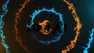 Energy tunnel round with flame effect, modern abstract 3d rendering background, computer generated