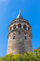 Galata Tower of Istanbul, close detailed view