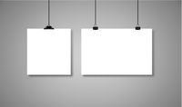 White paper hanging on binders with black rope with drop shadow. Vector illustration on grey