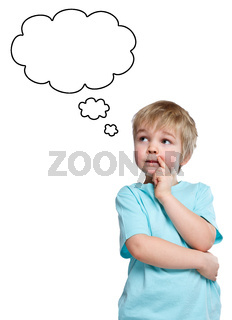 Kind kleiner Junge denken nachdenken träumen Sprechblase Textfreiraum Copyspace