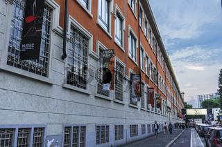 Milan, Italy MUDEC Frida Kahlo exhibition facade.
