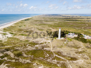 Aerial Drone View of Lyngvig Lighthouse in Denmark