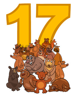 number seventeen and cartoon bears group