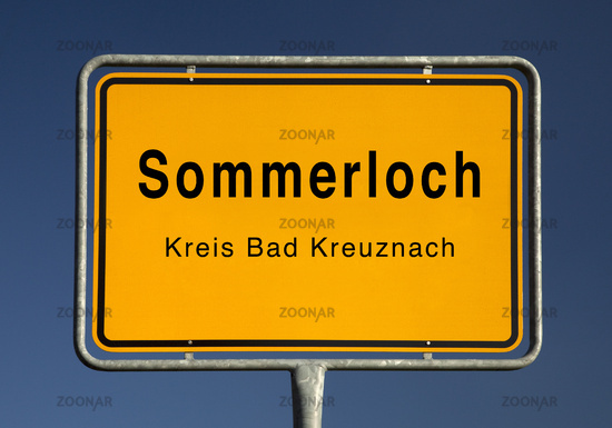 Town entrance sign of Sommerloch, district of Bad Kreuznach, Rhineland-Palatinate, Germany, Europe