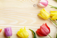 Frame of colorful tulips on natural wooden background with space for text