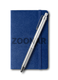 Marine blue closed notebook and pen isolated on white
