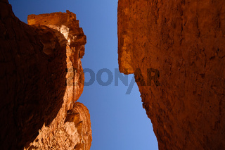 Bottom-up view to Abstract Rock formation at plateau Ennedi stone forest in Chad