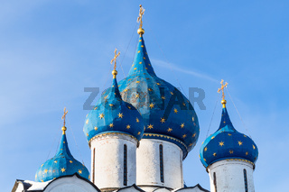towers of Cathedral of the Nativity in Suzdal town