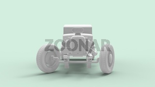 3d rendering of a hot rod isolated in a colored studio background