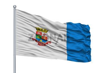 Niteroi City Flag On Flagpole, Brasil, Isolated On White Background