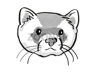 black-footed ferret Endangered Wildlife Cartoon Mono Line Drawing