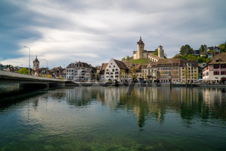 Schaffhausen, SH / Switzerland - 22 April 2019: view of the city of Schaffhausen with the bridge across the Rhine