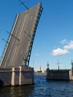 Raised bridge. Navy Day. In St. Petersburg, bridges are being built.