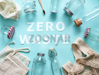Zero waste paper text and eco bags, glass jars