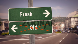 Street Sign Fresh versus Old