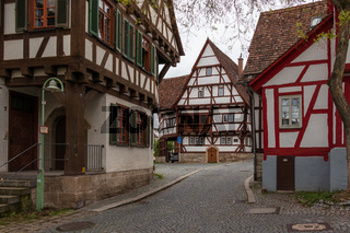 Sindelfingen, Baden Wurttemberg/Germany - May 11, 2019: Street Scenario of Central District Road, Hintere Gasse with traditional house facades.