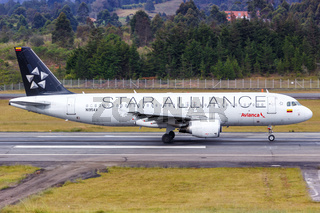 Avianca Airbus A320 airplane Medellin airport