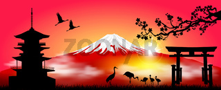 Mount Fuji in the morning at sunrise