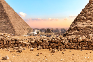 The Great Pyramids of Giza, view on the bases