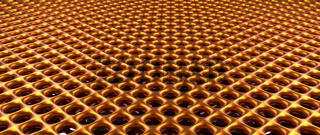 Golden metal grid background, 3d rendering