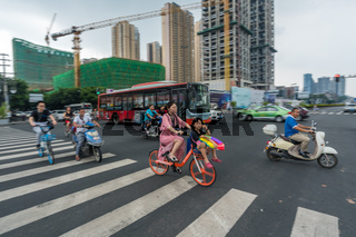 Street scene in the city of Chengdu