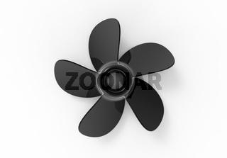 3D rendering 3D illustration of a black water propeller.