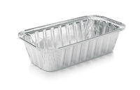 Empty disposable aluminium foil baking dish