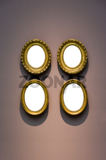 Four Round Art Museum Frame Pale Blue Wall Ornate Minimal Design White Isolated Clipping Path Template