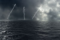 Stormy weather on the ocean with lightning