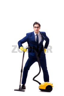 Handsome businessman with vacuum cleaner isolated on white backg