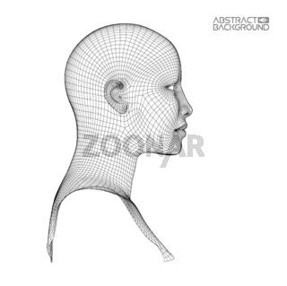 Ai digital brain. Artificial intelligence concept. Human head in robot digital computer interpretation.head concept.
