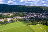Aerial view of the Vierburgeneck near Neckarsteinach, Baden-Württemberg, Germany