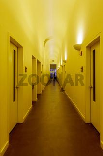 Stanford, California - October 6, 2018: Schwab Residential Center Building Corridor in Stanford Univ
