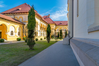 Beautiful view to the pavilion and gallery of the Coronation Reunification Cathedral in Alba Iulia city, Romania