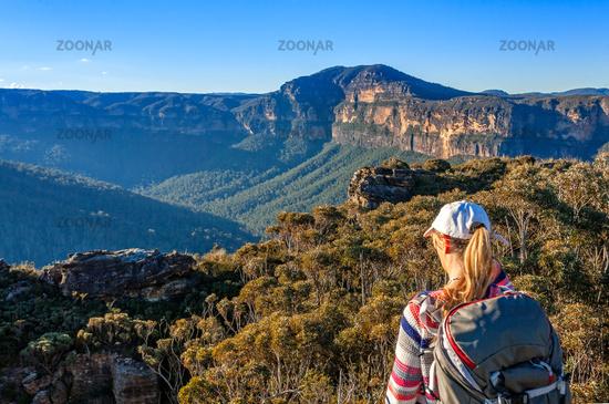 Scenic views to Mount Banks Blue Mountains Australia
