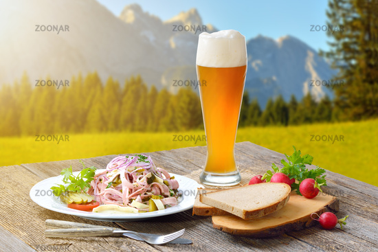 Hearty sausage salad in the Bavarian mountains