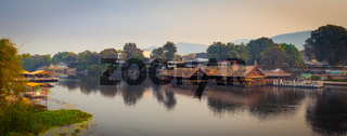 Sunrise over the river Kwai, Kanchanaburi, Thailand. Panorama