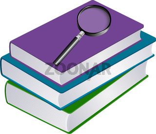 Illustration of stack of books with magnifier