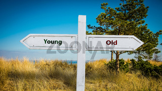 Street Sign Young versus Old