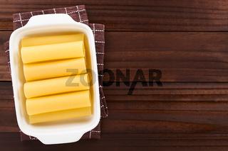 Raw Cannelloni Pasta