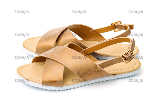 Pair of leather golden sandals