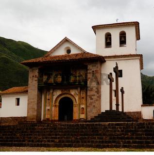 Facade view to St. Peter Church of Andahuaylillas, Cuzco, Peru
