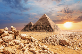 Desert sunset, beautiful view of the Pyramids of Giza