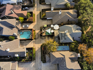 Aerial straight down drone view of residential area in autumn near Dallas