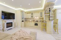 Luxury modern beige kitchen interior