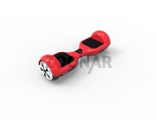 3D rendering 3D illustration of a red hoverboard isolated.