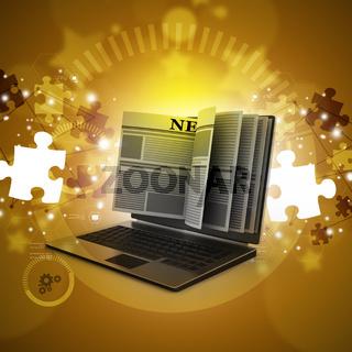 News through a laptop screen concept for online news