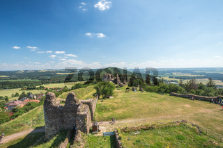 View from ruins of gothic medieval castle Lichnice, Iron Mountains, Pardubice region, Czech republic. Castle ruins.