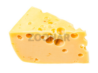 hunk of yellow semi-hard swiss cheese isolated