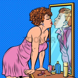 a woman kisses a man, the reflection in the mirror, dream